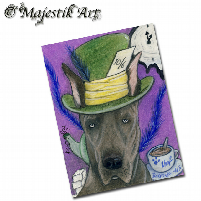 ACEO Print Great Dane MAD HATTER Dog Animal Pet