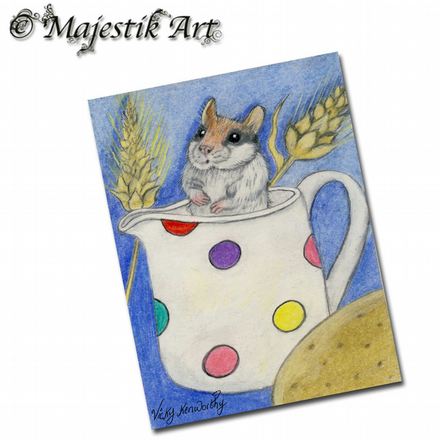 ACEO Print Mouse DORMOUSE Rodent Wonderland Animal