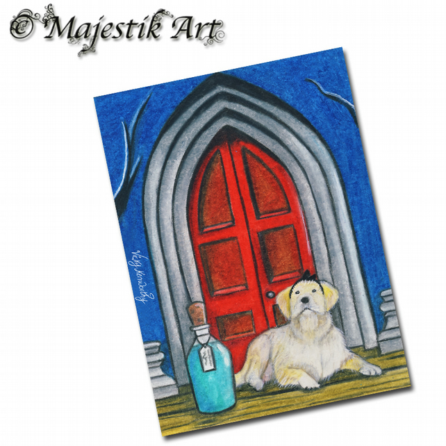 ACEO Print Golden Retriever Dog Animal ALICE