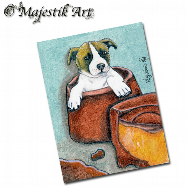 ACEO Print Puppy ROLO Pet Animal Jack Russell Dog