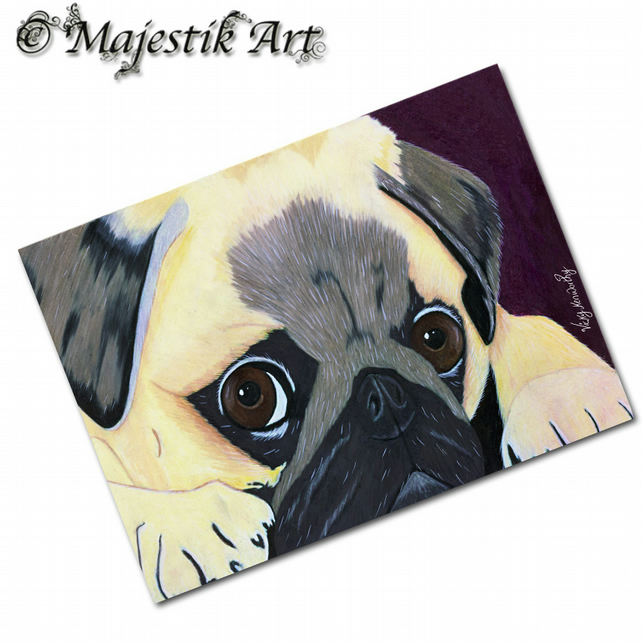 ACEO Print Pug Dog Puppy Animal Pet FEELING BLUE