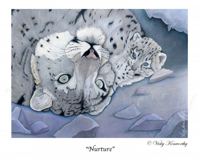 "Snow Leopard Fine art Print 8"" x 10"" Archival NURTURE Mother Cub"