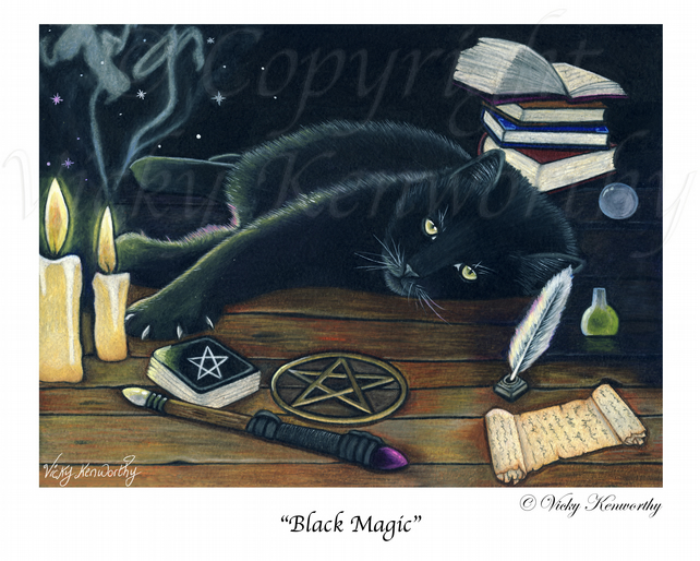 Black Cat Fine art Print A3 Archival BLACK MAGIC Wiccan