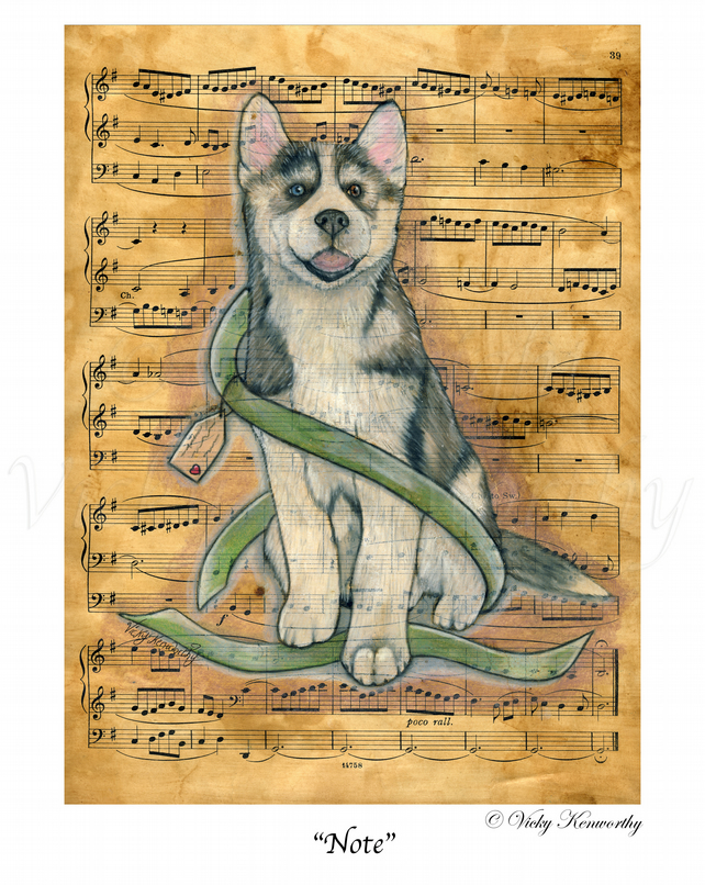 Husky Fine art Print A3 Archival NOTE Dog