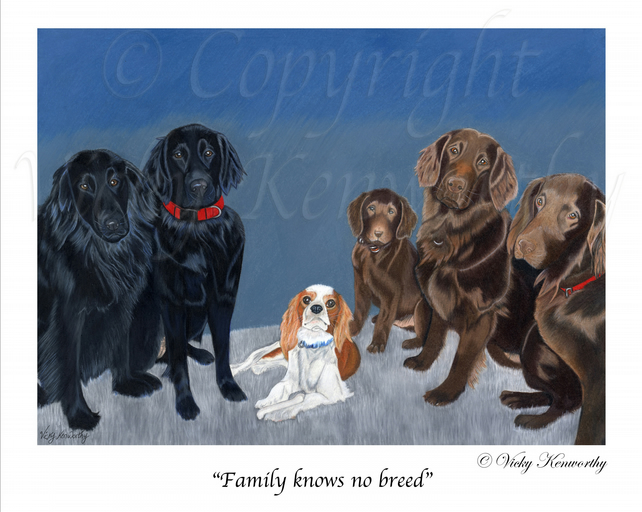 Cavalier Retriever Fine art Print A4 Archival FAMILY KNOWS NO BREED Dog