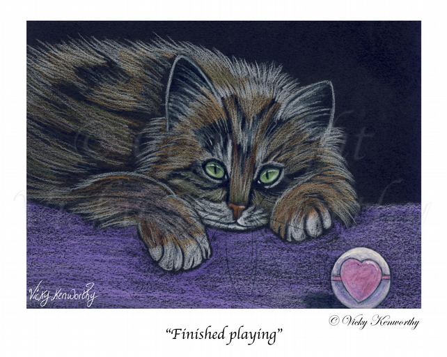 Tabby Cat Fine art Print A4 Archival FINISHED PLAYING Animal