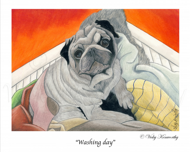 "Pug Dog Fine art Print 8"" x 10"" Archival WASHING DAY Animal"