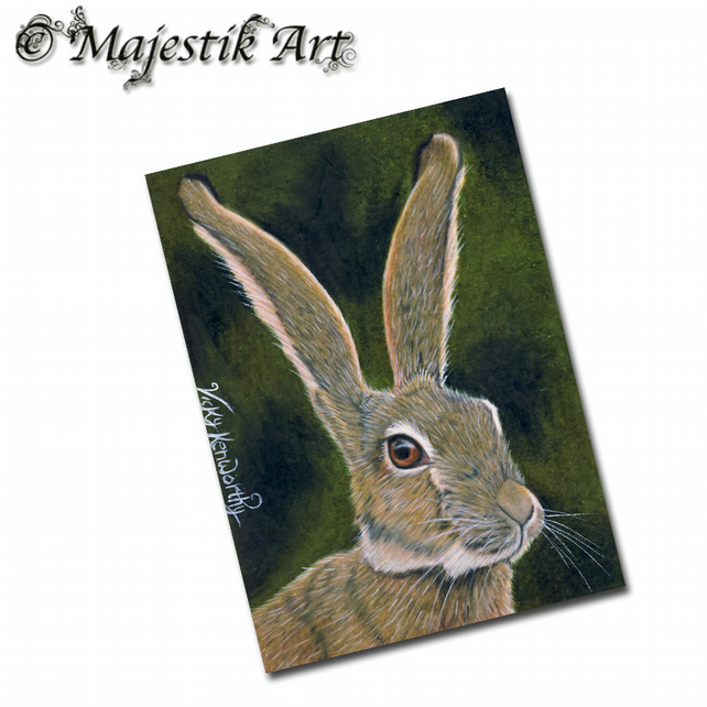 ACEO Print Hare ALERT Animal