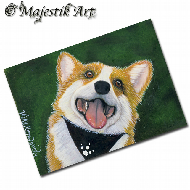 ACEO Print Corgi Dog BACK AGAIN Animal Pet Canine