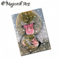 ACEO Print Japanese Maquac Mother Baby Animal Primate A MOTHER'S LOVE