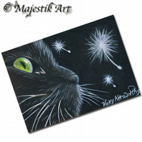 ACEO Print Black Cat Feline Animal Pet  CURIOSITY