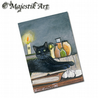 ACEO Print Black Cat Pagan Magic Witch Animal Wicca FAMILIAR
