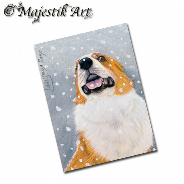 ACEO Print Welsh Corgi Dog Animal Pet TASTES GOOD