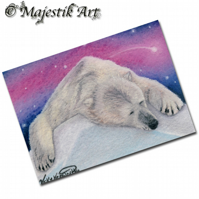 ACEO Print Polar Bear Wildlife Animal RESTING