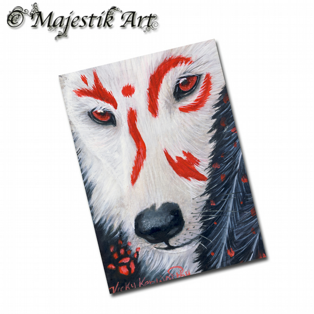 ACEO Print Wolf Native American Art SPIRIT WOLF
