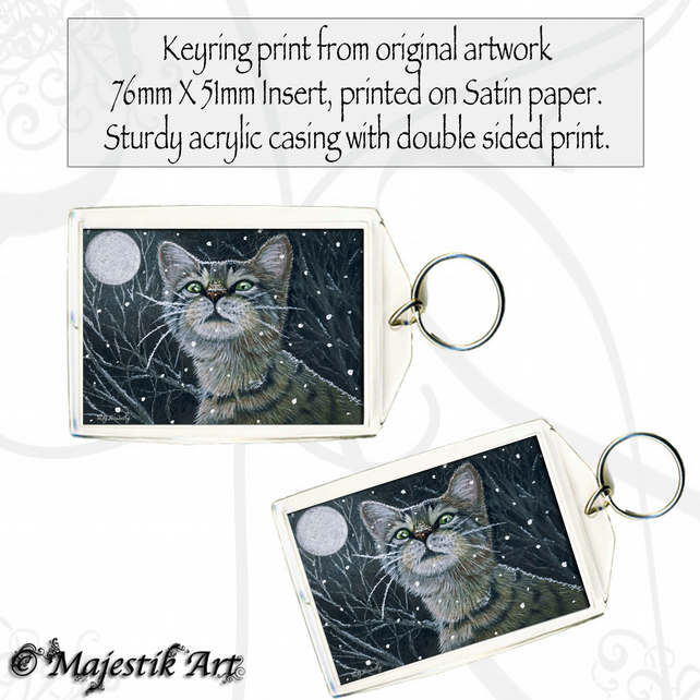 Tabby Cat Keyring SNOW CAT Animal Pet Feline Winter