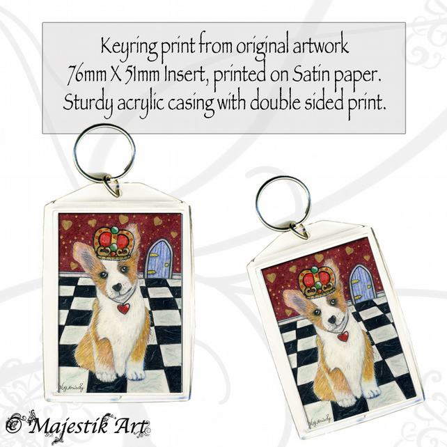 Corgi Keyring QUEEN OF HEARTS Animal Pet Dog Puppy Fantasy