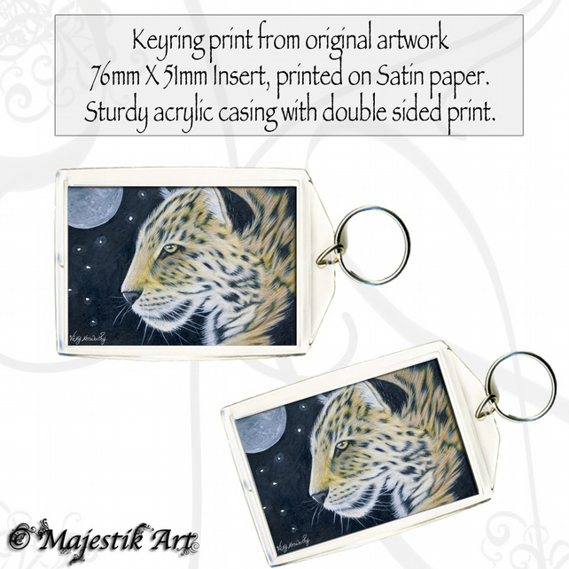 Leopard Keyring MOONLIGHT Animal Big Cat Wildlife