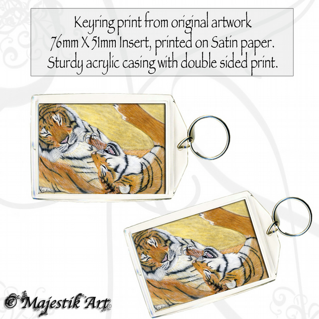 Tigers Wildlife Keyring PLAY TIME Animal Big Cats