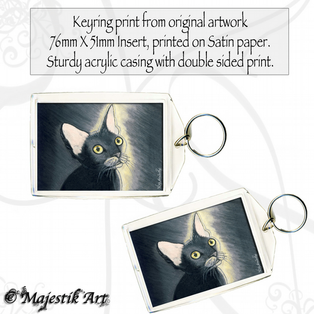 Black Cat Keyring GLOWING Rex Animal Feline