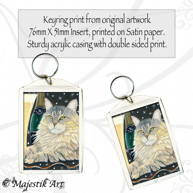 Maine Coon Cat Keyring CHEERS Animal Pet Celebration