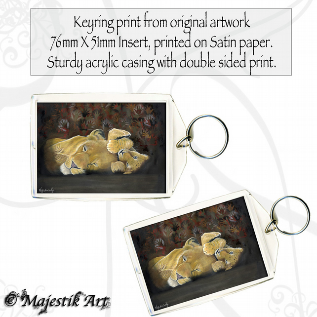 Lion Keyring IN THE SHADOW OF MAN Animal Wildlife Big Cat Mother Cub