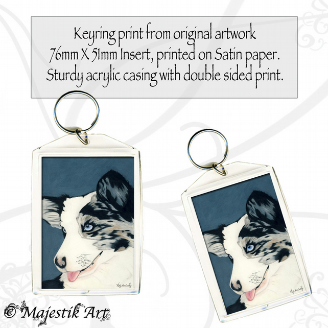 Blue Merle Corgi Keyring HELLO AGAIN Dog Animal
