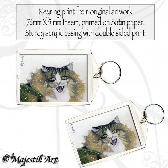 Maine Coon Keyring DISAPPROVE Snow Animal