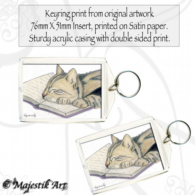 Tabby Cat Keyring LOVE TO READ Feline Pet Animal