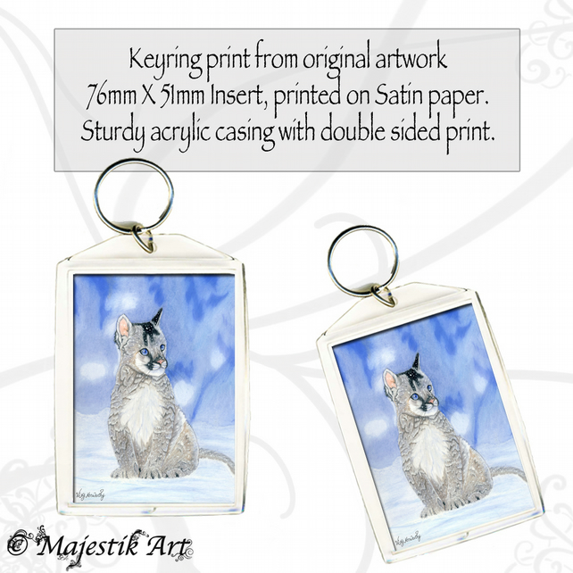 Mountain Lion Keyring SERENE Animal Wildlife Big Cat Cub