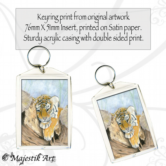 Tiger Cub Keyring WEARY Animal Cub Big Cat