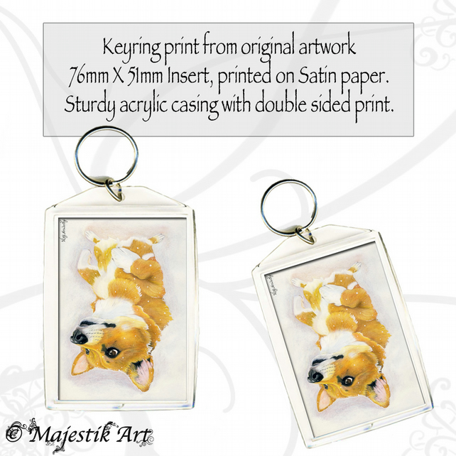 Corgi Keyring SNOW DOG Animal Pet Dog