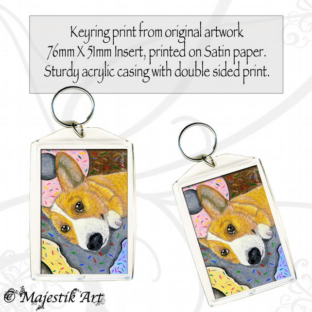 Corgi Keyring DOUGHNUT Pet Animal Dog