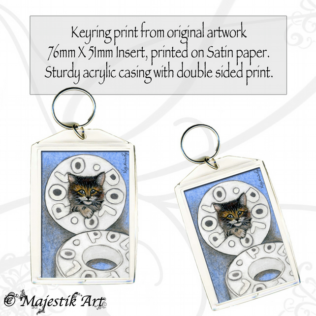 Tabby Kitten Keyring POLO Pet Animal Cat