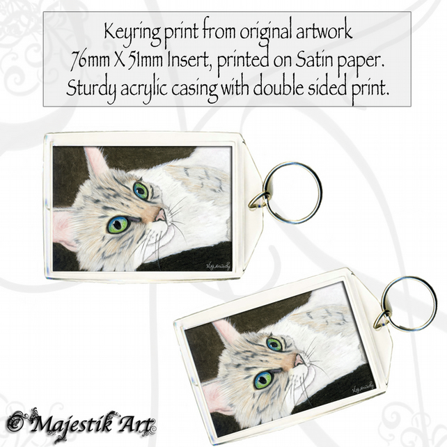 Cat Feline Keyring PRETTY EYES Pet Animal