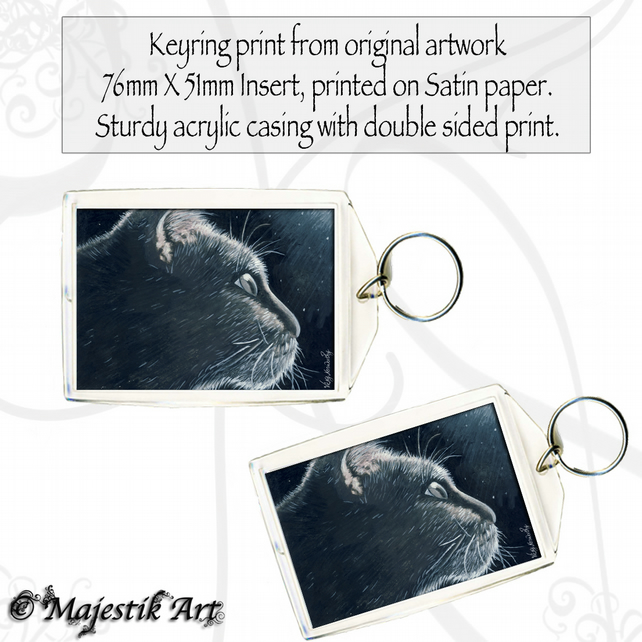 Black Cat Keyring INCANDESCENT Pet Animal Feline