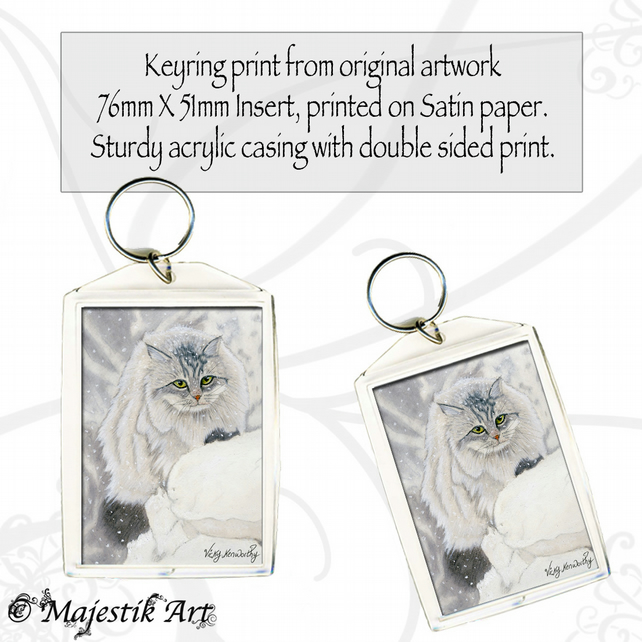 Maine Coon Keyring SNOW DAY Cat Animal
