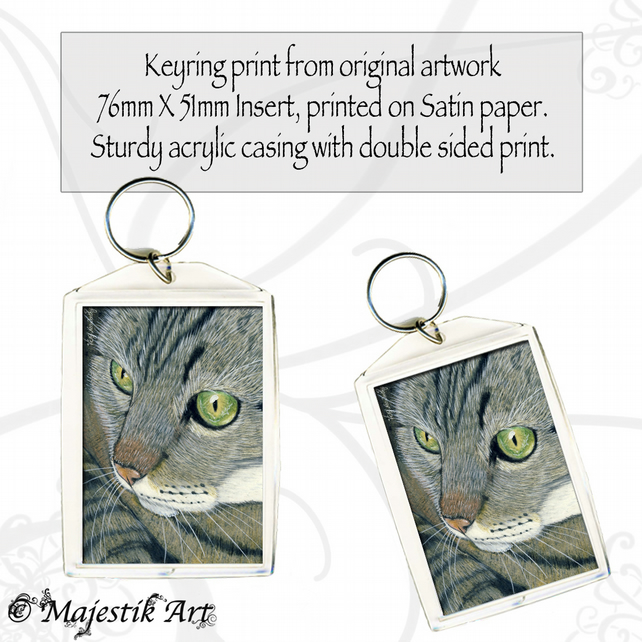Tabby Cat Keyring STARE Feline Animal