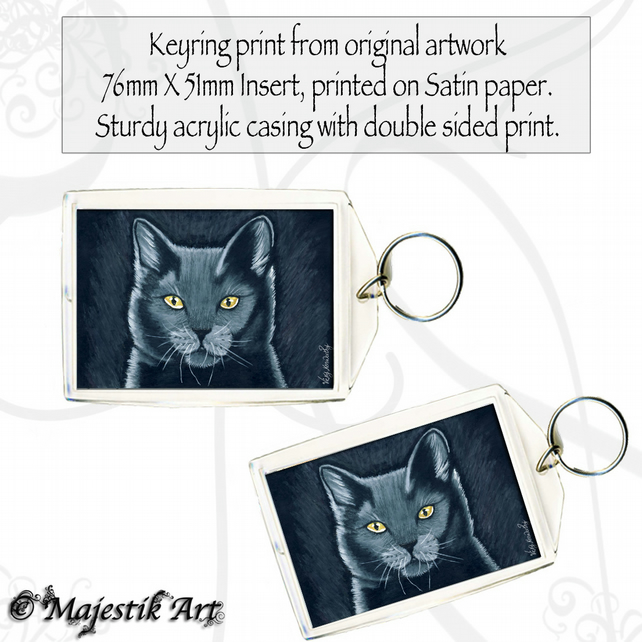 Black Cat Keyring SPIRIT Feline Animal