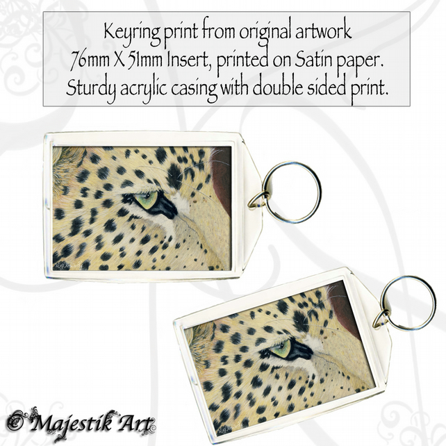 Leopard Keyring WATCHING Wildlife Animal Big cat