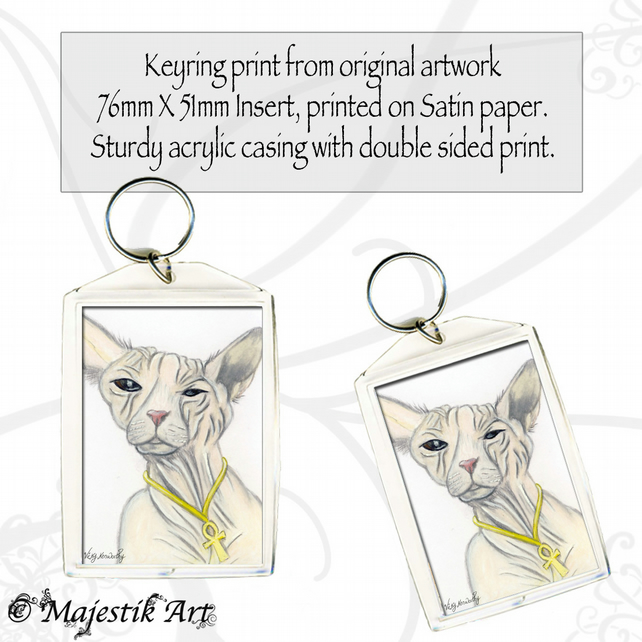 Hairless Cat Keyring SPHINX Animal Pet Feline