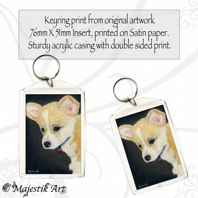 Corgi Dog Keyring PUPPY LOVE Animal Pet