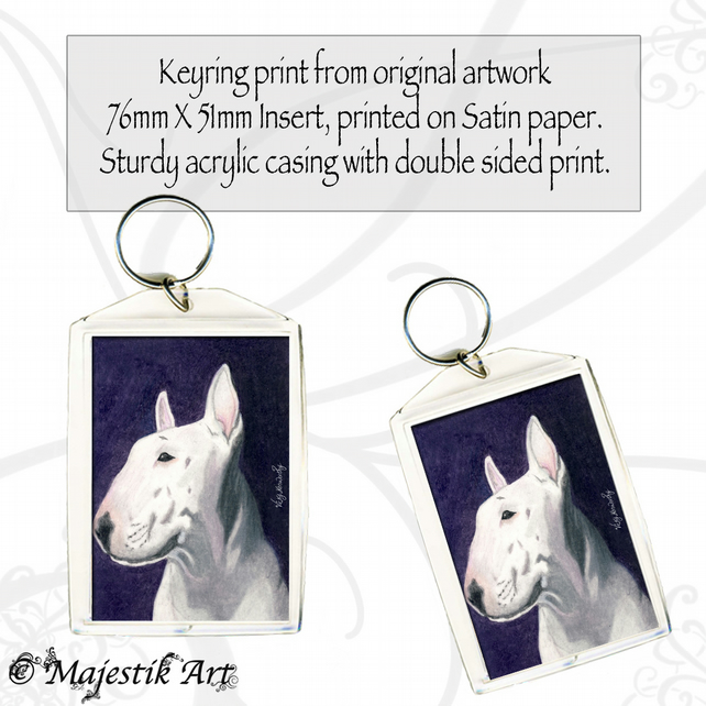 English Bull Terrier Keyring WHAT'S THAT? Dog Animal