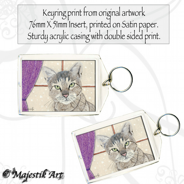 Cat Pet Snow Keyring WINTERS NIGHT Animal Pet