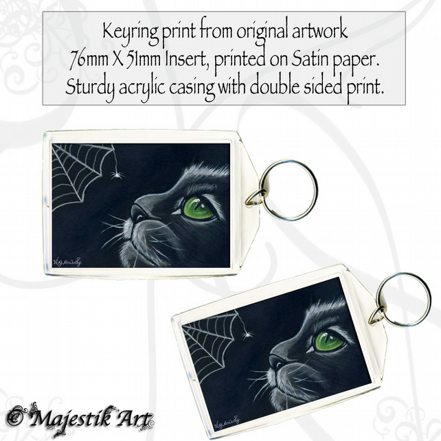 Black Cat Keyring WHO ARE YOU? Animal Pet