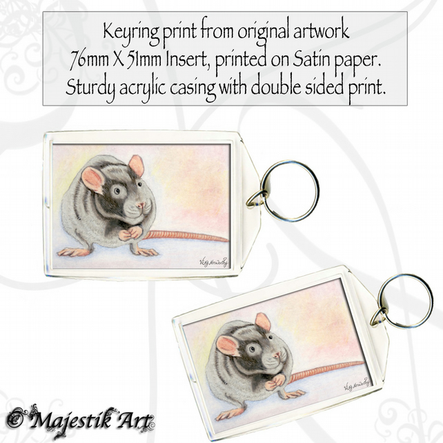 Rat Rodent YES I'M CUTE Animal Keyring
