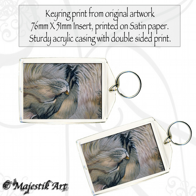 Maine Coon Keyring GLAD THAT'S OVER Cat Pet Animal