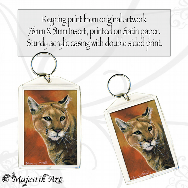 Mountain Lion Keyring GLINT Feline Wildlife Big cat