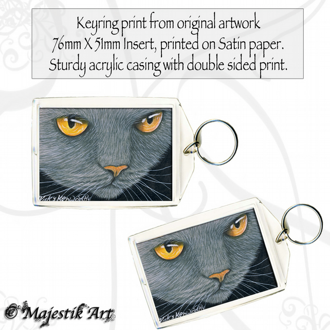 Grey Cat Keyring LIQUID GOLD Feline Animal