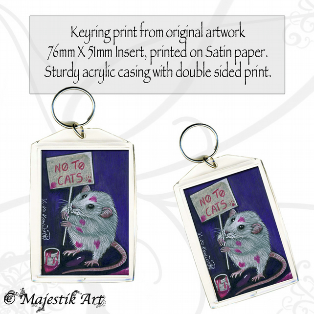 Rat Keyring PROTEST Animal Pet Rodent